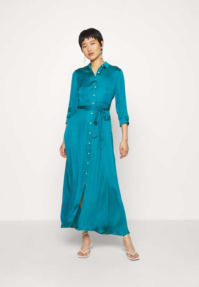 SAVANNAH MAXI - SOFT SATIN - Shirt dress - underwater turq