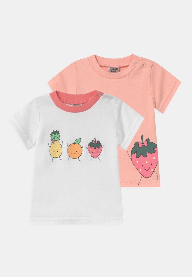 GIRLS 2 PACK - T-shirt print - light pink/white