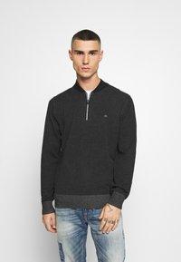 Calvin Klein - BASEBALL ZIP - Stickad tröja - black - 0