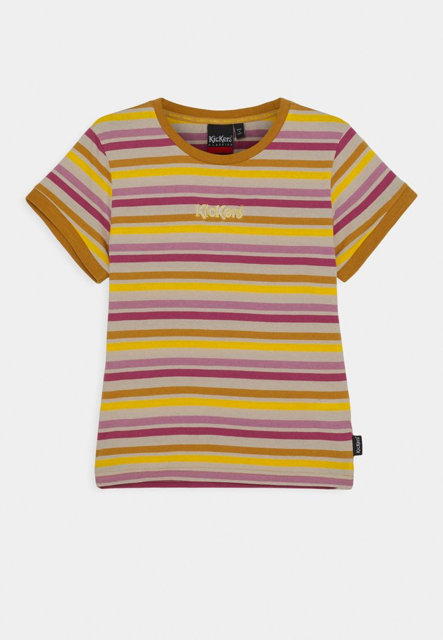 STRIPED RINGER WITH CENTRAL EMBROIDERED LOGO - Trikoomekko - yellow/pink