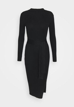 TIE WAIST MIDI DRESS - Etuikjole - black