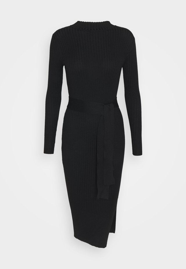 TIE WAIST MIDI DRESS - Jumper dress - black