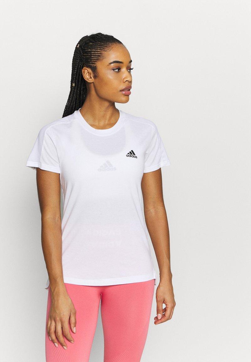 adidas Performance - Basic T-shirt - white/black