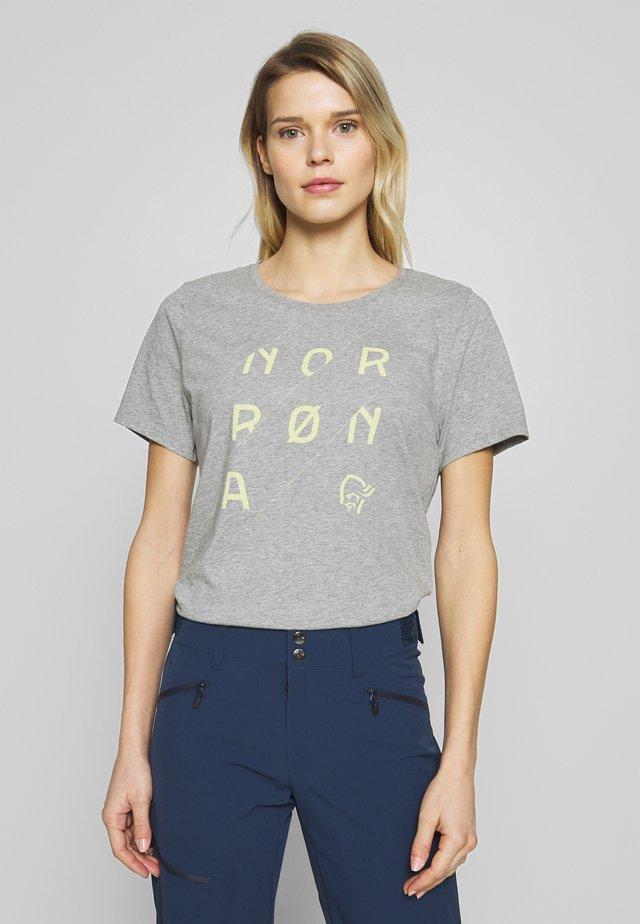 SLANT LOGO - Print T-shirt - grey melange