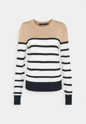 VMLACOLE STRIPE - Jumper - snow white/navy blazer