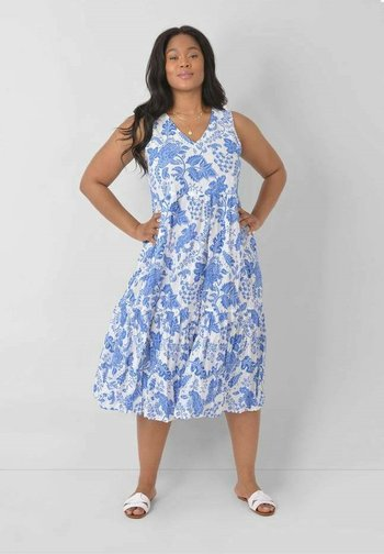 FLORAL - Day dress - blue, white