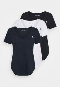Abercrombie & Fitch - VNECK 3 PACK - Camiseta básica - black/ white/ navy - 0