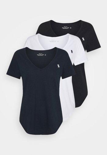 VNECK 3 PACK - T-shirts - black/ white/ navy