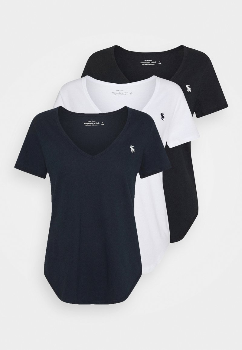 Abercrombie & Fitch - VNECK 3 PACK - Camiseta básica - black/ white/ navy