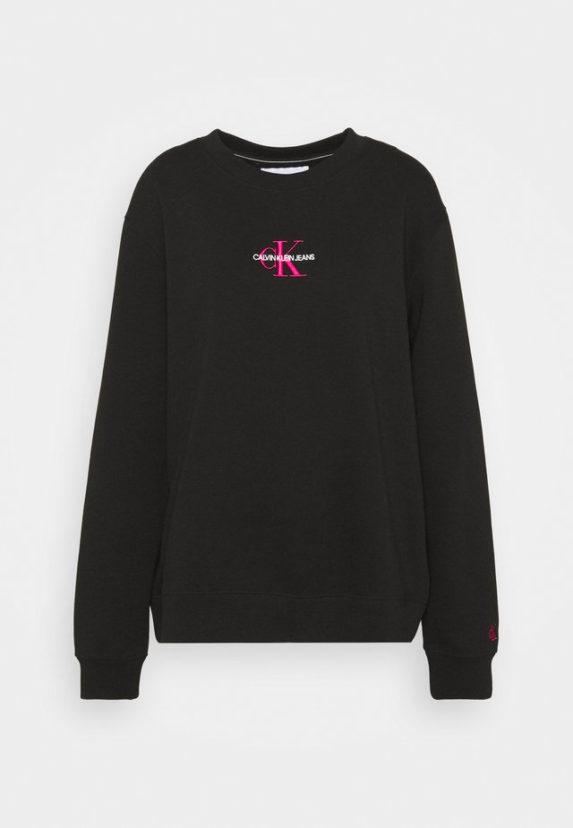 MONOGRAM LOGO CREW NECK - Bluza - black/party pink