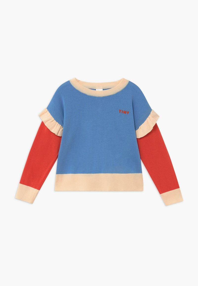 TINYCOTTONS - TINY FRILLS CROP  - Svetr - blue/red