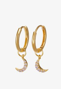 MYSTIC MOON PENDANT EARRINGS HOOPS - Oorbellen - gold-coloured