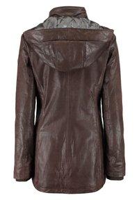 DNR Jackets - MIT KAPUZE UND VERDECKTEM REISSVERSCHLUSS - Leather jacket - dunkelbraun - 1