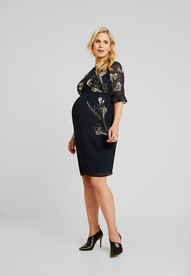 EMBELISHED MINI DRESS WITH FLUTED SLEEVE - Cocktailjurk - dark blue