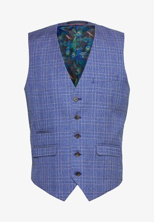 BLY JASPE OVER CHECK COAT SLIM FIT - Suit waistcoat - mid blue