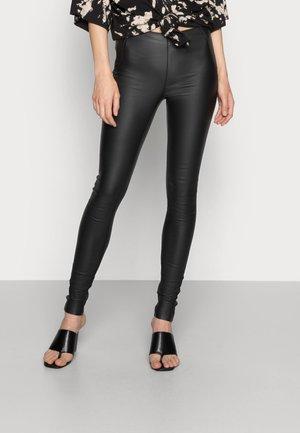 OBJBELLE COATED - Leggings - Trousers - black