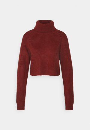 ROLL NECK BATWING CROP JUMPER - Jumper - burgundy