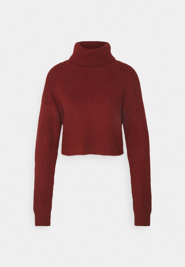 ROLL NECK BATWING CROP JUMPER - Pullover - burgundy