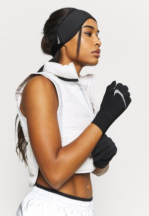 WOMENS ESSENTIAL RUNNING HEADBAND AND GLOVE SET - Gloves - black/silver