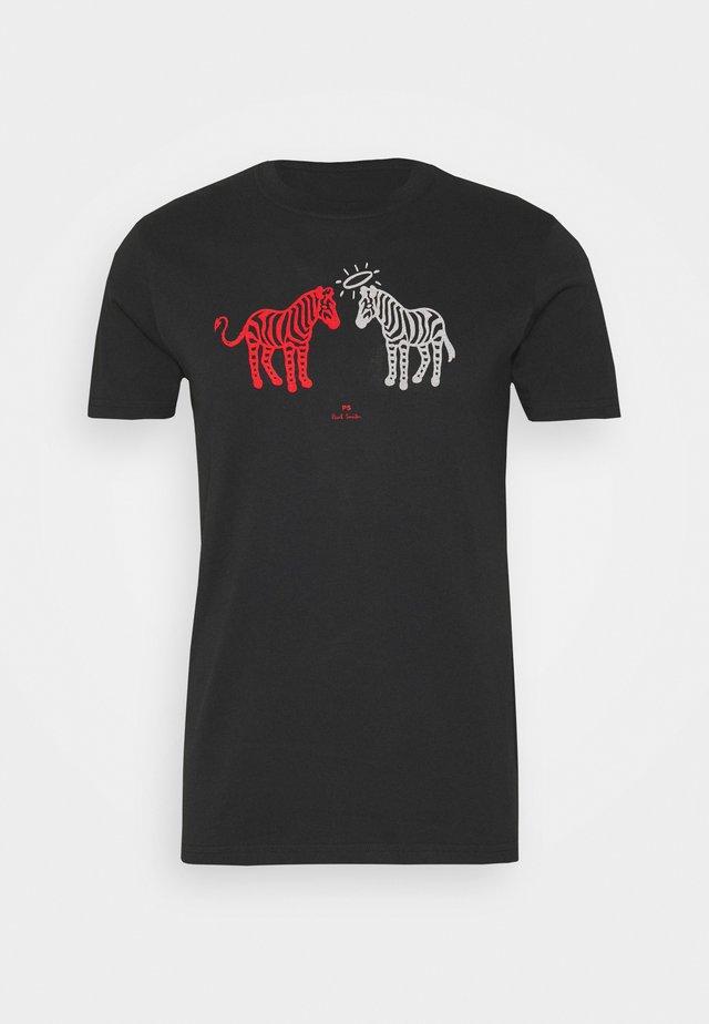 MENS SLIM FIT HALO DEVIL ZEBRAS - Camiseta estampada - black