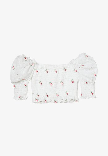 BRODERIE FLORAL SHIRRED CROP TOP
