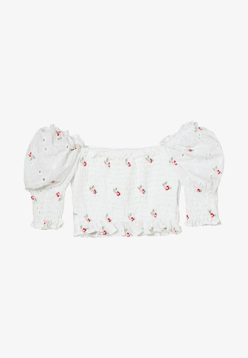 Missguided - BRODERIE FLORAL SHIRRED CROP TOP - Blůza - white