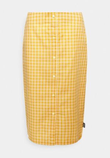 CHECK MIDI SKIRT - Pencil skirt - yellow