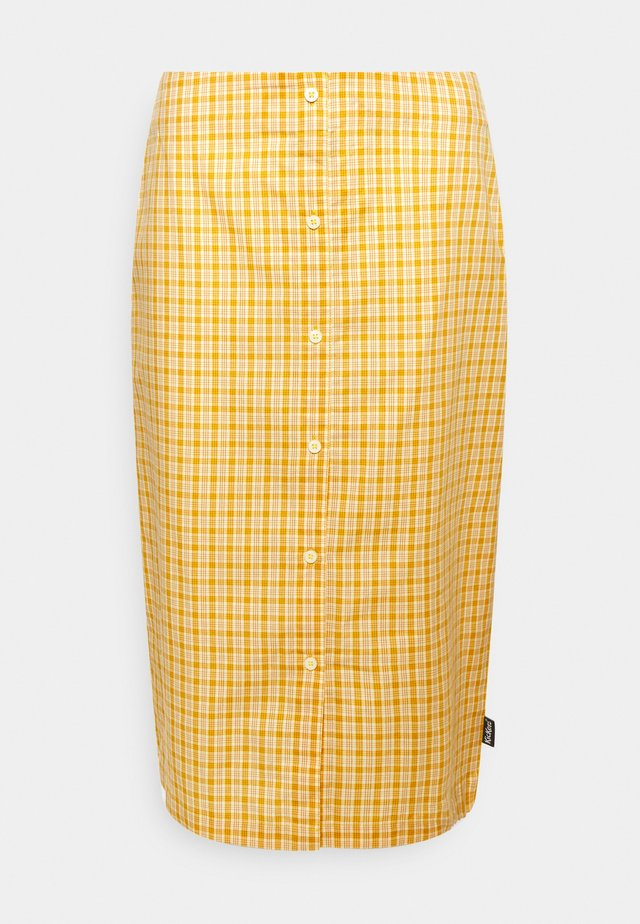 CHECK MIDI SKIRT - Gonna a tubino - yellow