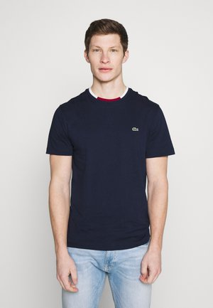 T-shirt basique - navy blue/flour bordeaux