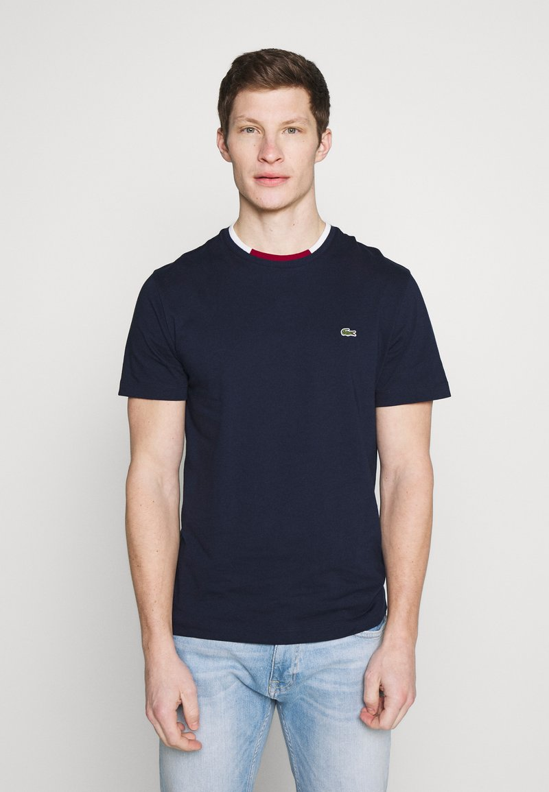 Lacoste - T-shirt basique - navy blue/flour bordeaux