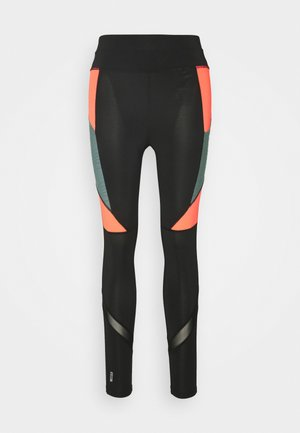ONPALANI TRAINING TIGHTS - Leggings - black/goblin blue/fiery coral