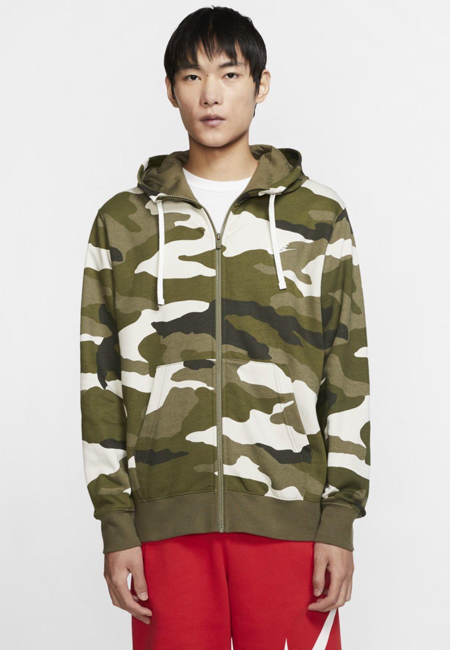 cada Margarita almuerzo  Nike Sportswear CLUB HOODIE CAMO - Sudadera con cremallera -  olive/off-white - Zalando.es