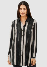 Laura Kent - Button-down blouse - stein,schwarz,wollweiß - 0