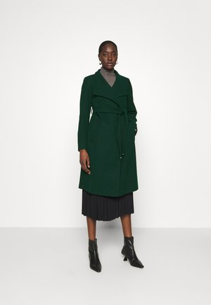FUNNEL COLLAR GLOSSY COAT - Classic coat - green