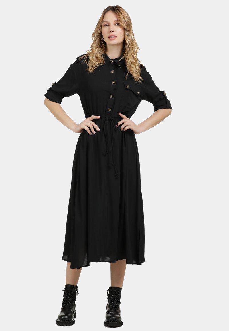 DreiMaster - DREIMASTER MIDI-KLEID - Shirt dress - schwarz
