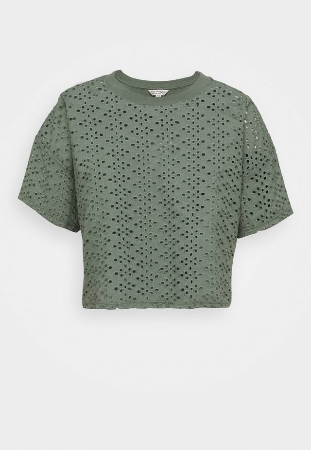 BRODERIE TEE - T-shirt print - khaki