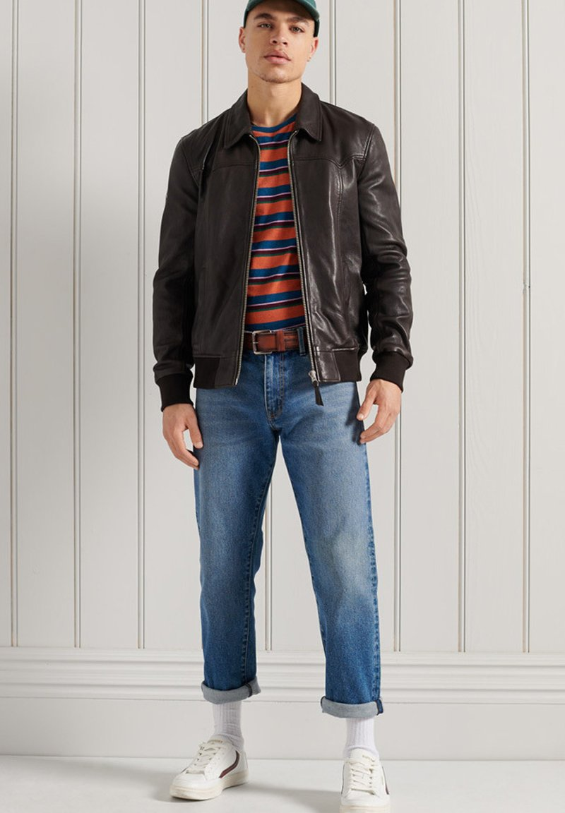 Superdry - INDIE CLUB JACKET - Faux leather jacket - brown paloma leather