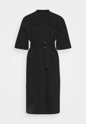 BELTED UTILITY DRESS - Denim dress - black