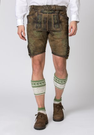 JAKOB - Leather trousers - green