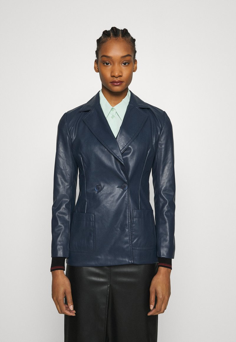 Who What Wear - 70S FITTED JACKET - Faux leather jacket - dark navy