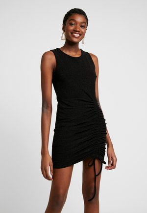 STRING GATHERED MINI DRESS - Kotelomekko - black