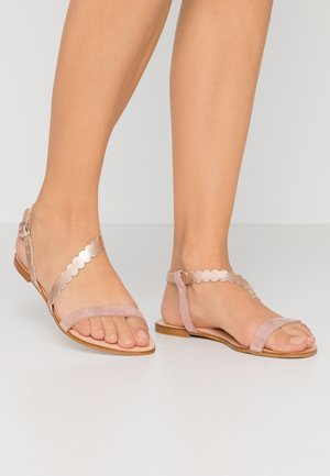 LEATHER FLAT SANDALS - Sandales - rose