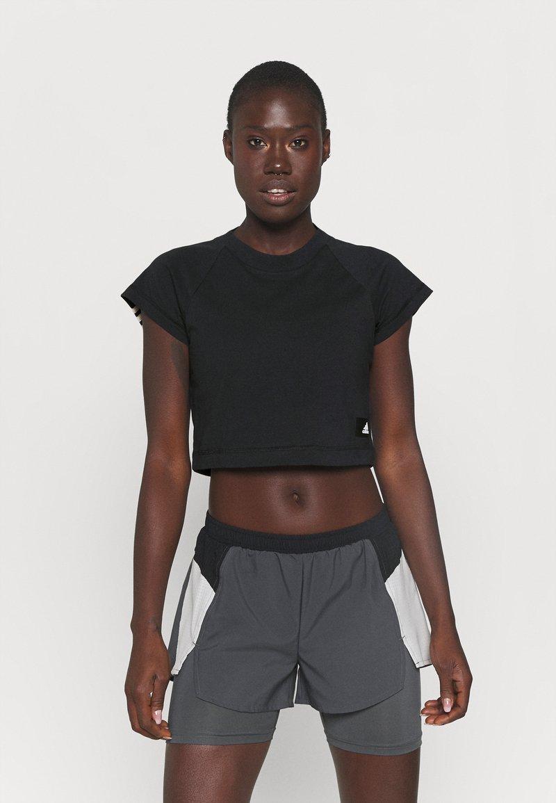 adidas Performance - RECCO CROP TEE - Triko spotiskem - black