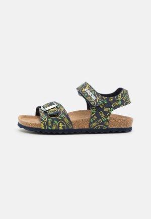GHITA BOY - Sandals - navy/fluo yellow