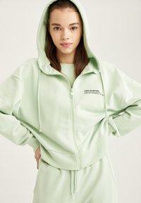 DeFacto - Zip-up hoodie - turquoise - 4