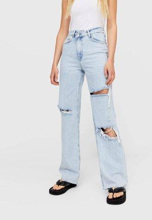 MIT ASYMMETRISCHEM BUND  - Jeans Straight Leg - light blue