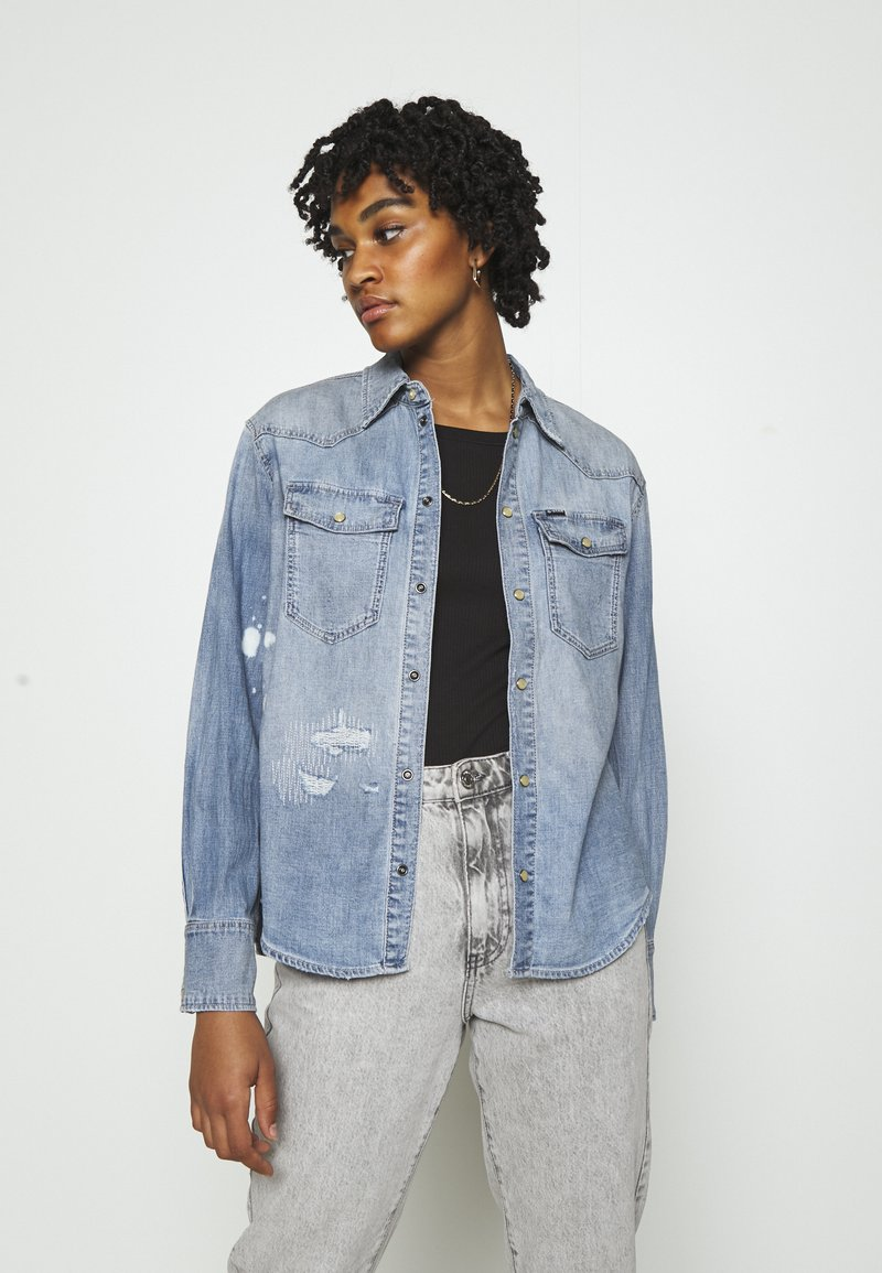 G-Star - WESTERN RELAXED  - Button-down blouse - destroyed denim