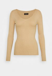 Even&Odd - BASIC- V-neck jumper - Svetr - sand - 4