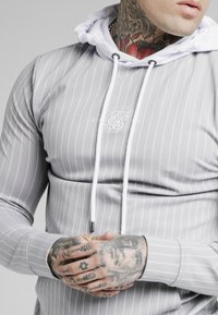 SIKSILK - DUAL STRIPE OVERHEAD HOODIE - Pitkähihainen paita - grey/white - 4