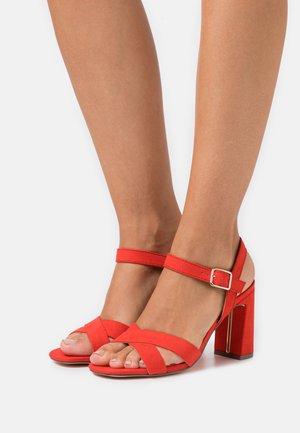 SELENA BLOCK  - High heeled sandals - coral
